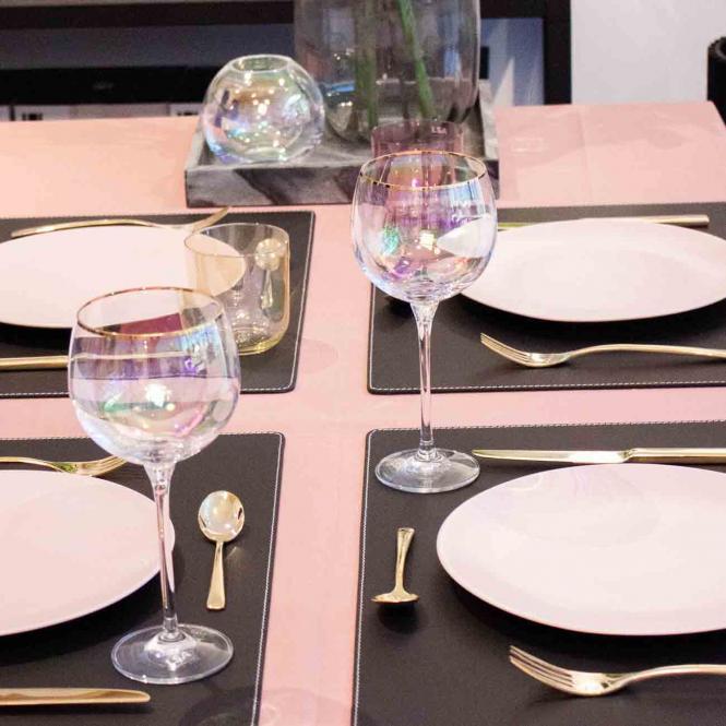 Leder Tischset, Lederunterlage KANON rechteckig, schwarz (weiße Naht)