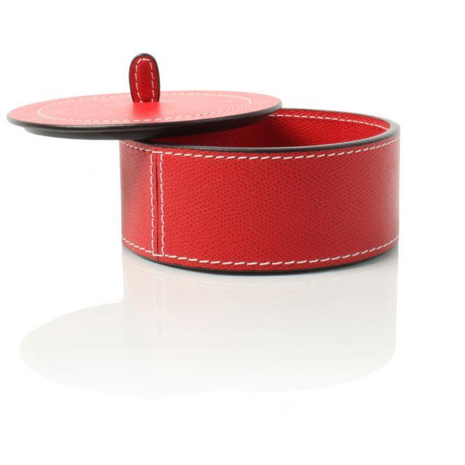 Lederboxen Harris medium rund, rot