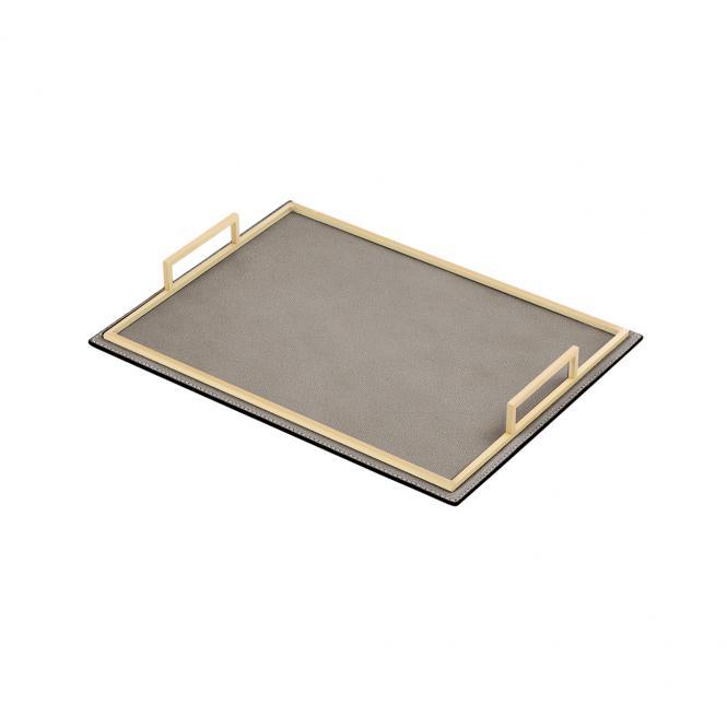 Ledertablett Defile rechteckig taupe/goldfarben