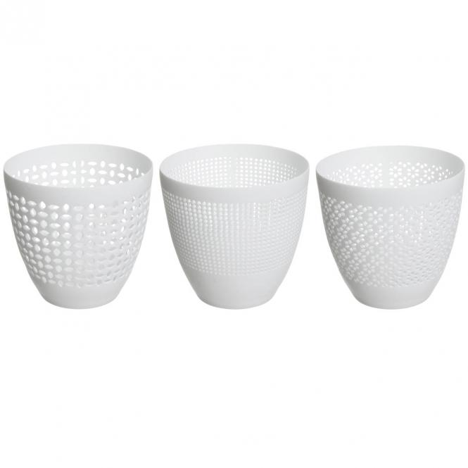 Blanc Windlichter mit Muster, klein, 3er Set,weiss