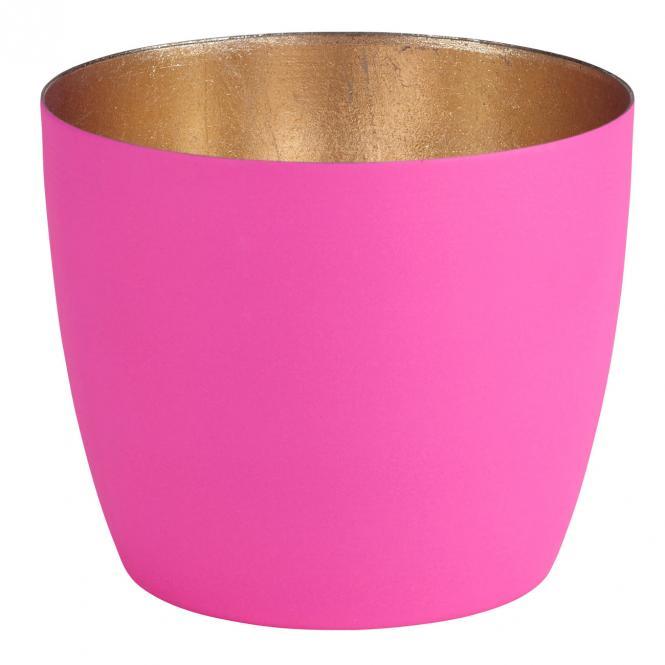 Teelichthalter Madras M hot pink matt/nudegold