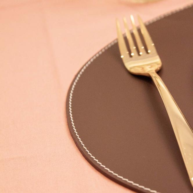 Leder Tischset, Lederunterlage KANON oval, braun