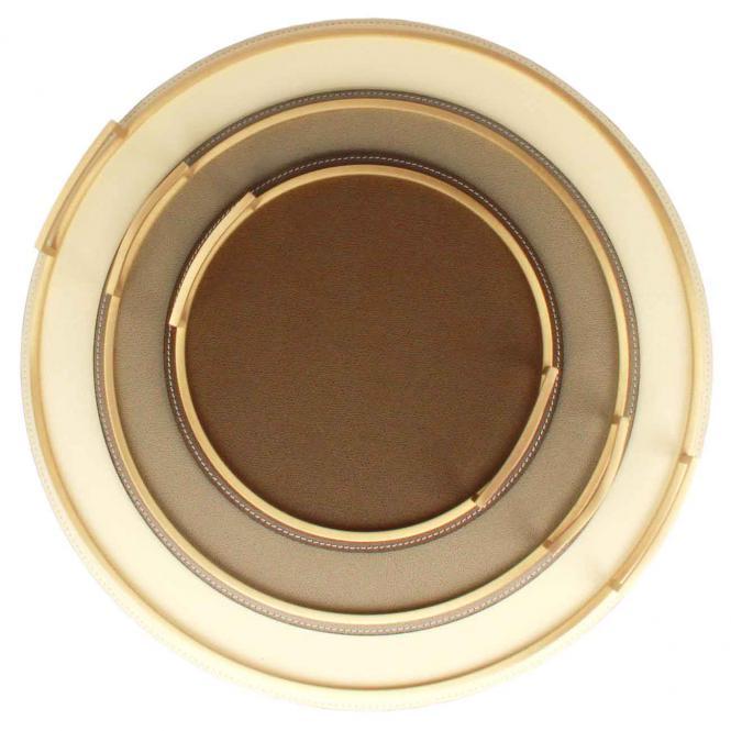 Ledertablett Defile rund taupe/goldfarben