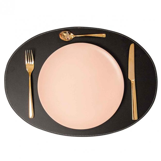 Leder Tischset, Lederunterlage KANON oval, schwarz (weiße Naht)