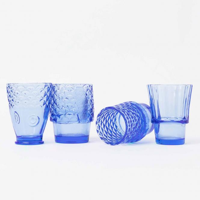 4er Set stapelbare Gläser Koifish von DOIY, blau