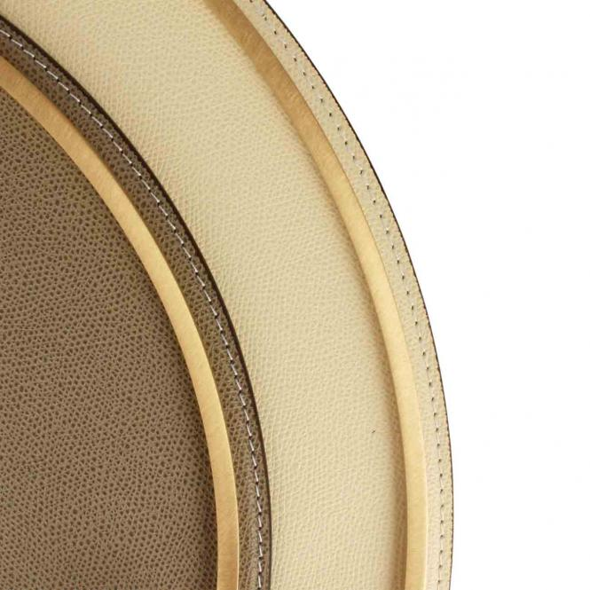 Ledertablett Defile rund ivory/goldfarben, Größe Large 46 x 45 cm