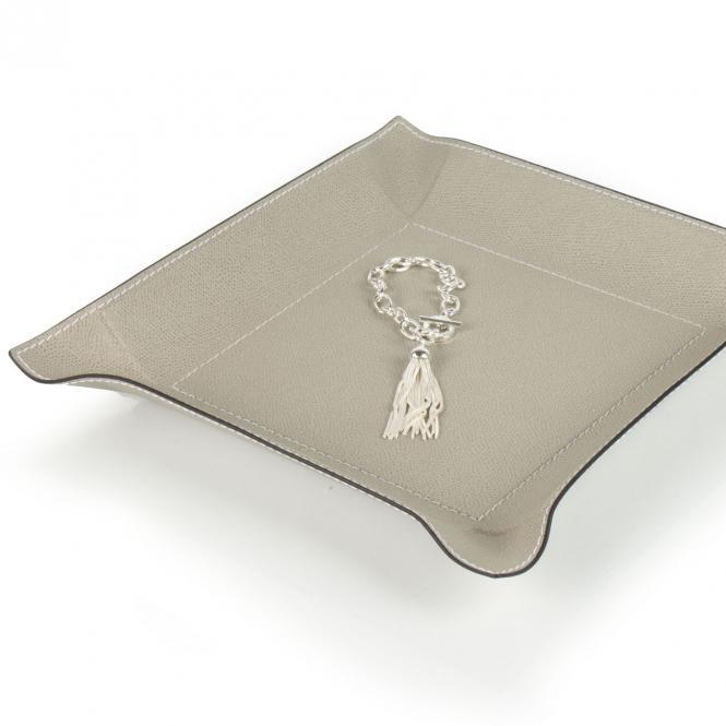 Lederablage Jack quadratisch grau, Größe Large 28 x 28 cm