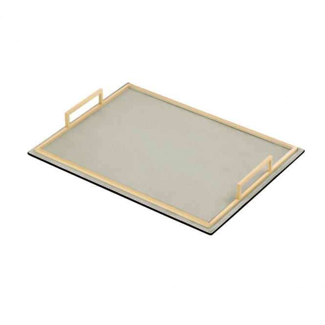 Ledertablett Defile rechteckig grau/goldfarben