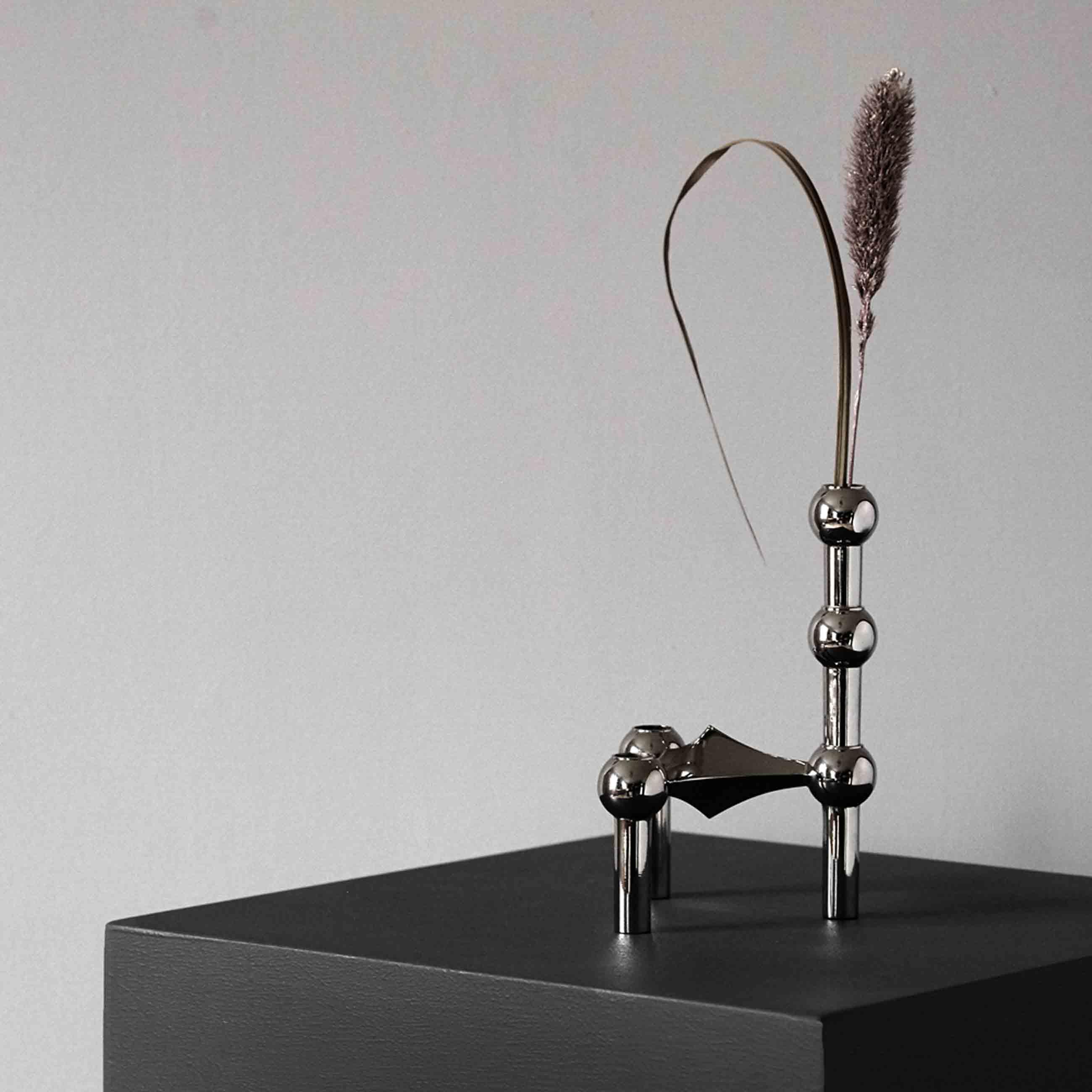 STOFF Vase für Kerzenhalter silberfarben