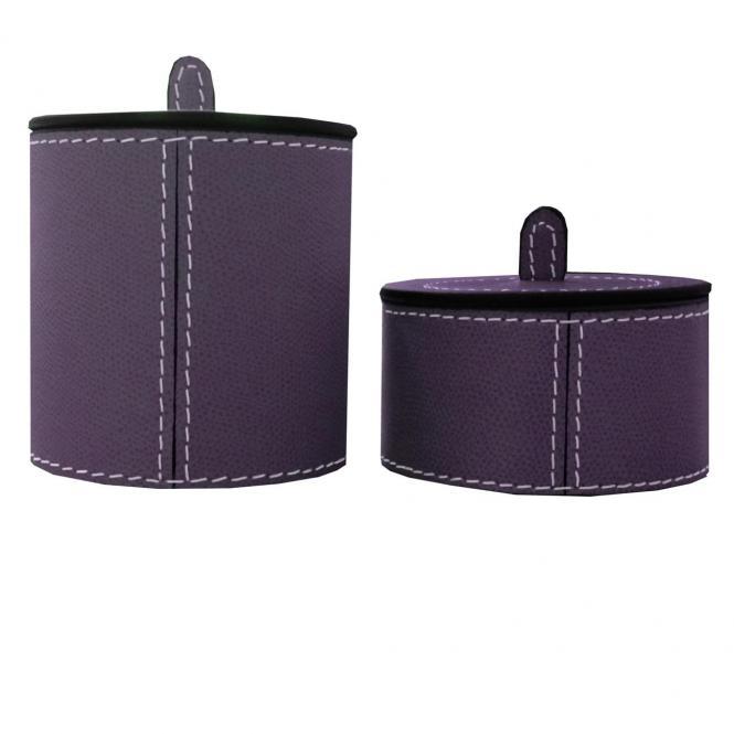 Lederboxen Harris rund small flach violett