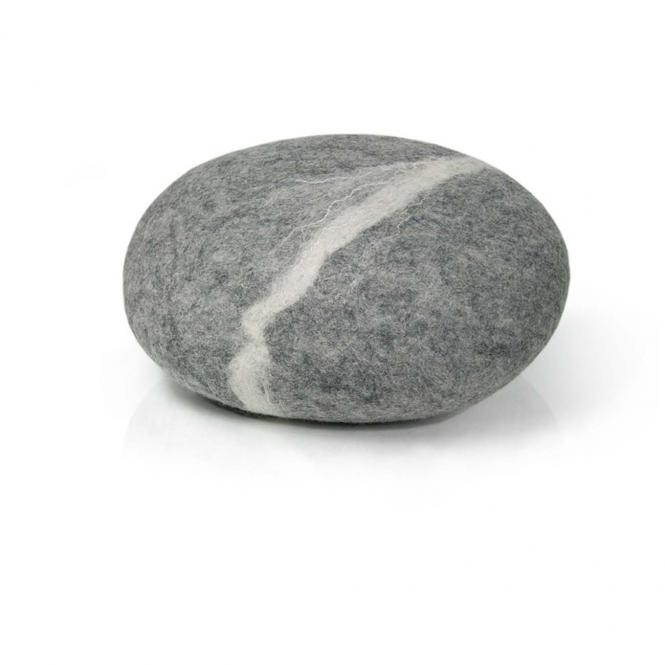 Filzkissen Stein Wolle hellgrau, groß