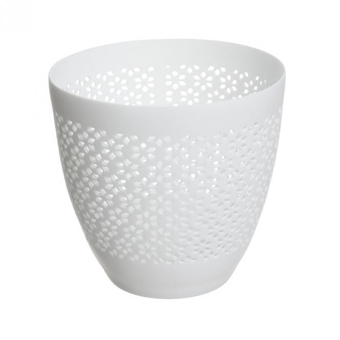 Blanc Windlichter mit Muster, groß, 3er Set, weiss