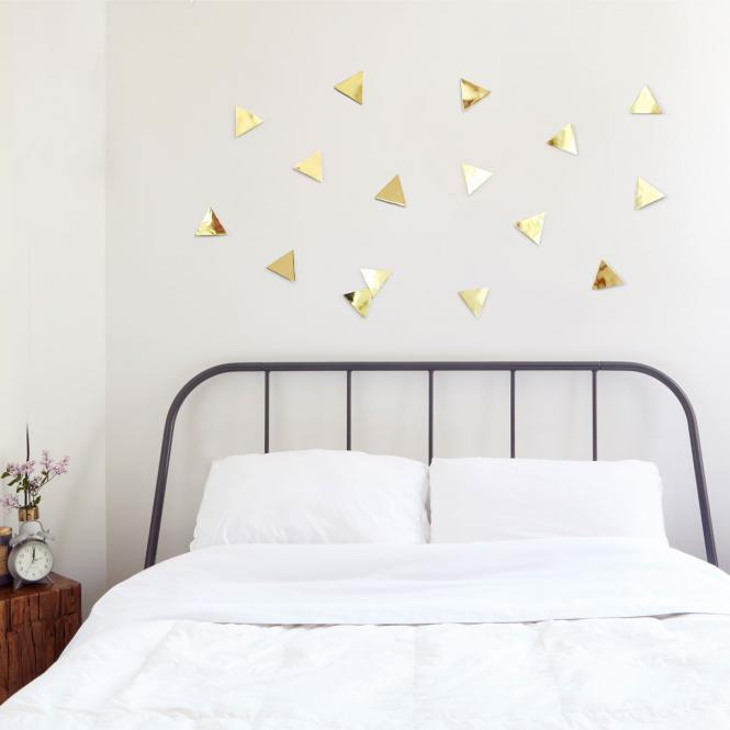 "Wanddekoration ""Triangles"", goldfarben"
