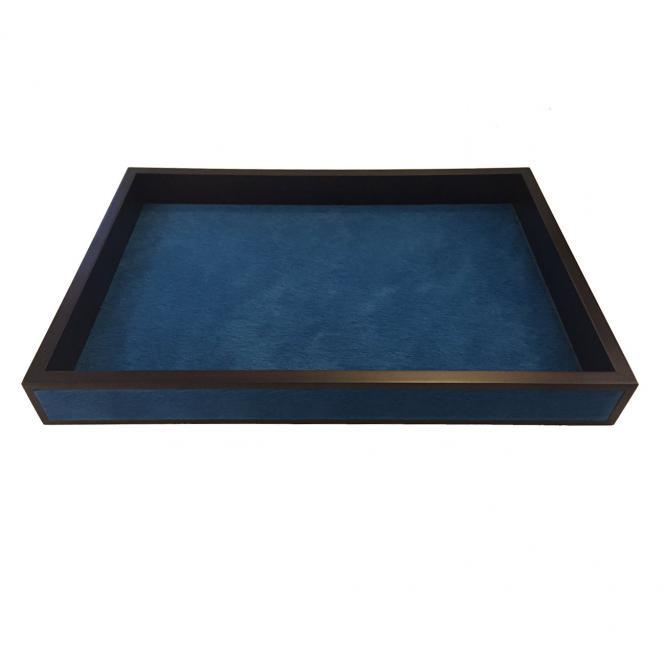 Ledertablett Milano Fellleder rechteckig small, blau