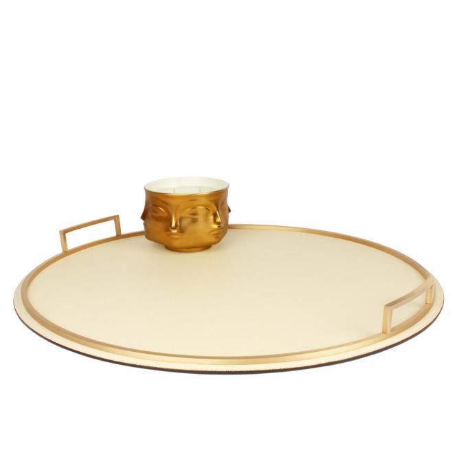 Ledertablett Defile rund ivory/goldfarben