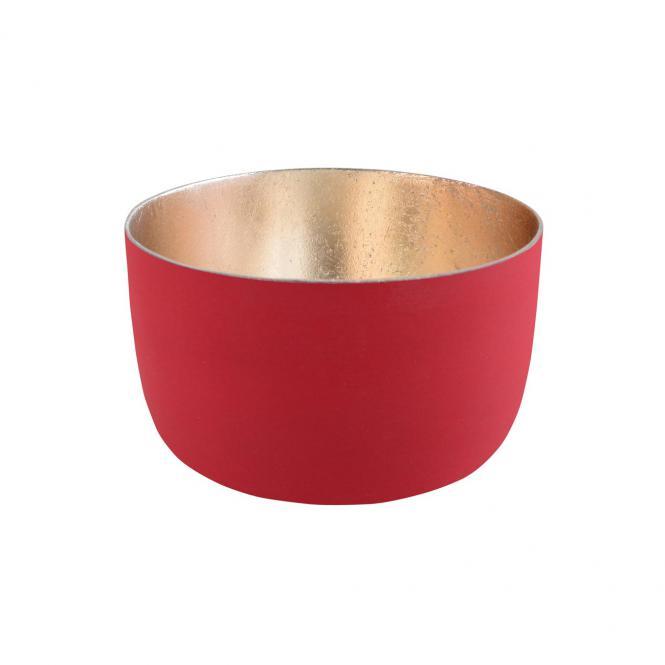 Teelichthalter Madras S rot matt/nudegold