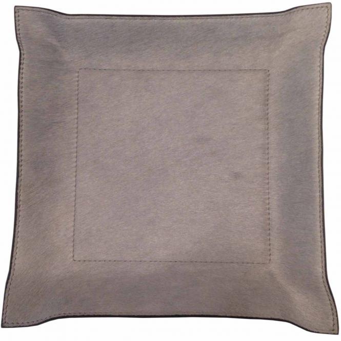 Lederablage Jack quadratisch Pony grau, Größe Medium 20 x 20 cm