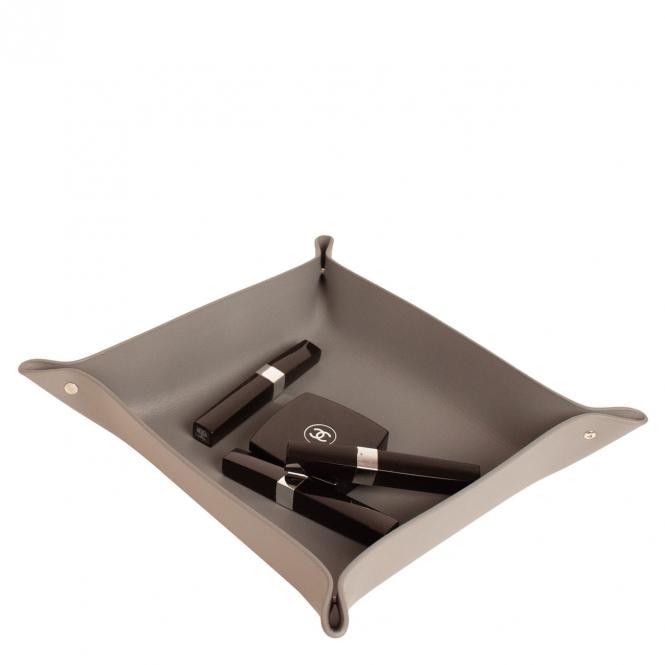 Lederschale Taschenleerer Corium 23 x 21 cm, grau