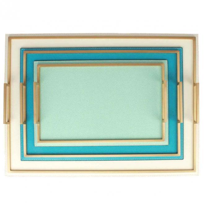 Ledertablett Defile rechteckig light blue/goldfarben
