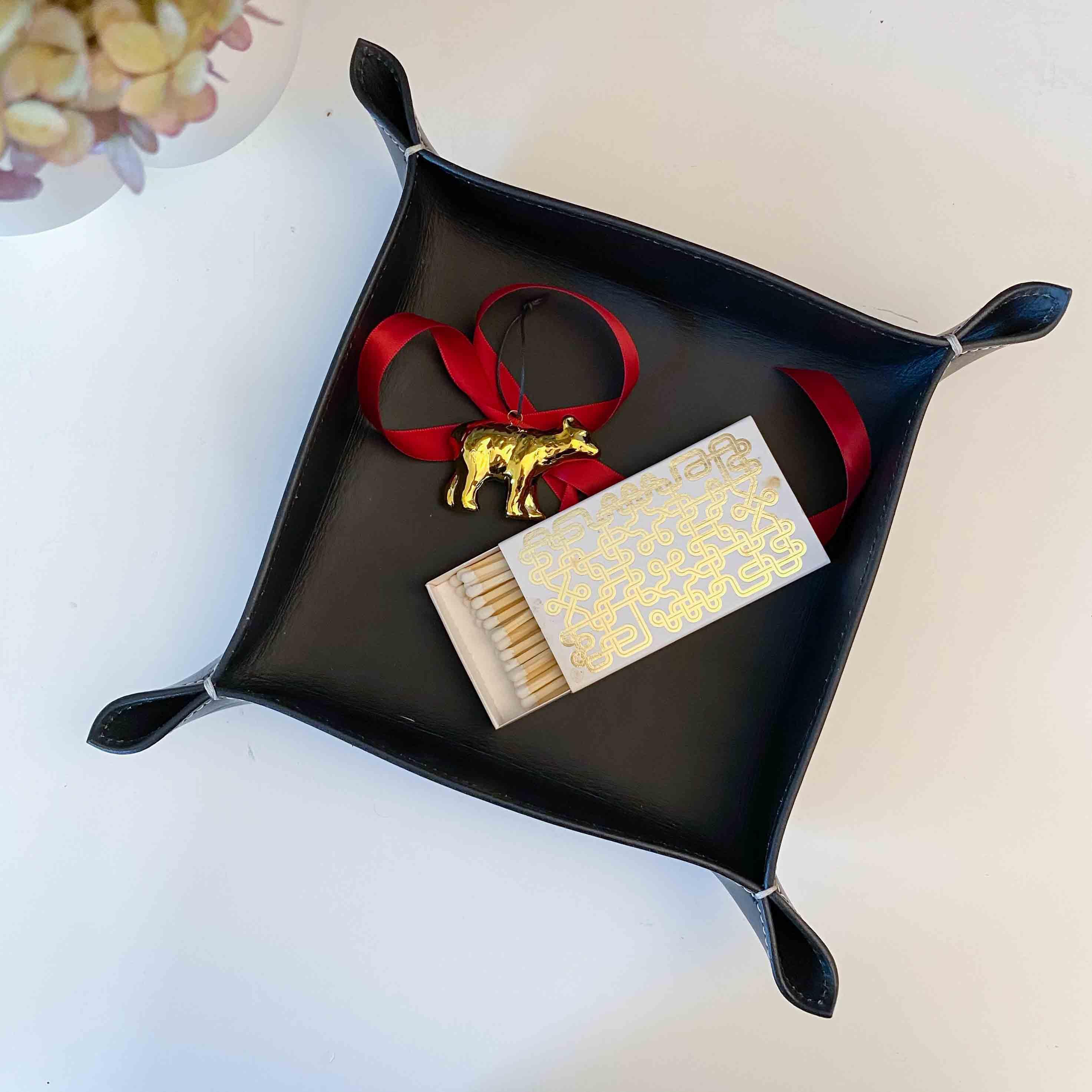 Lederschale Taschenleerer Corium 20 x 20 cm, braun