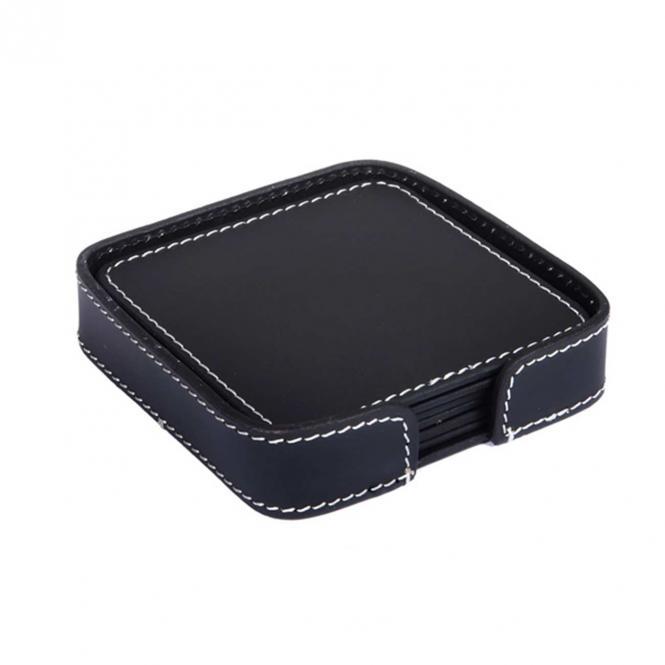 Quadratische Untersetzer aus Leder, schwarz,