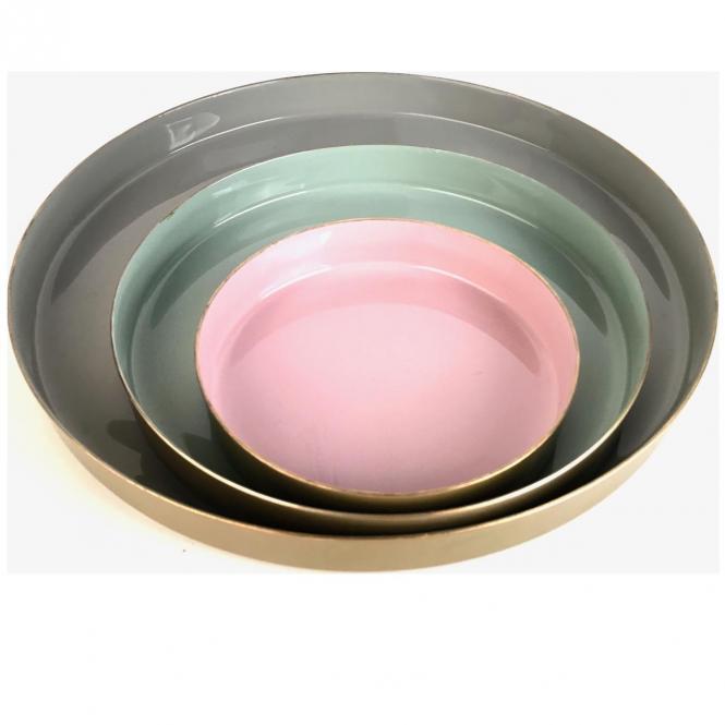 Layer Tablett 3er Set, flannel/jade/rose/goldfarben