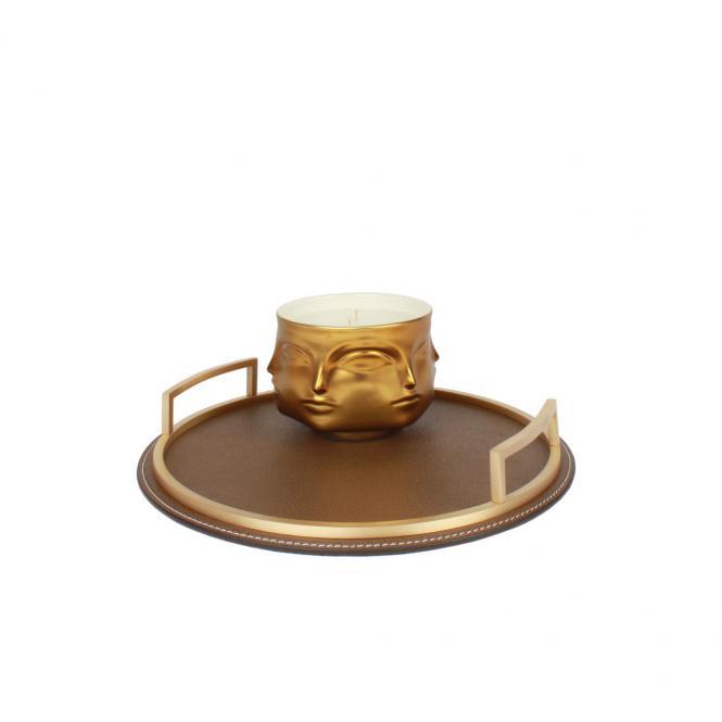 Ledertablett Defile rund braun/goldfarben