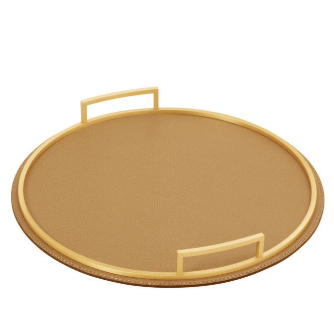 Ledertablett Defile rund sand/goldfarben