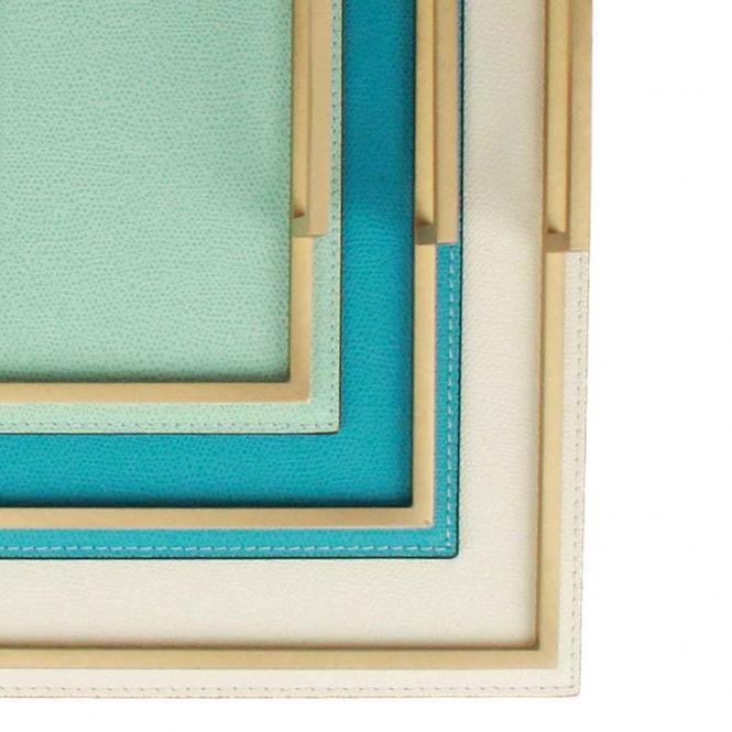 Ledertablett Defile rechteckig weiß/goldfarben