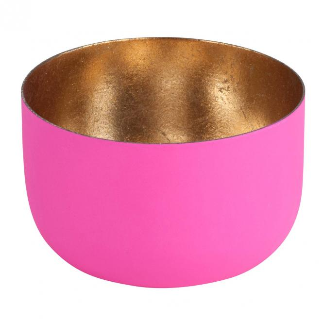 Teelichthalter Madras S hot pink matt/nudegold