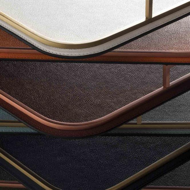 Ledertablett Defile rechteckig taupe/chromfarben