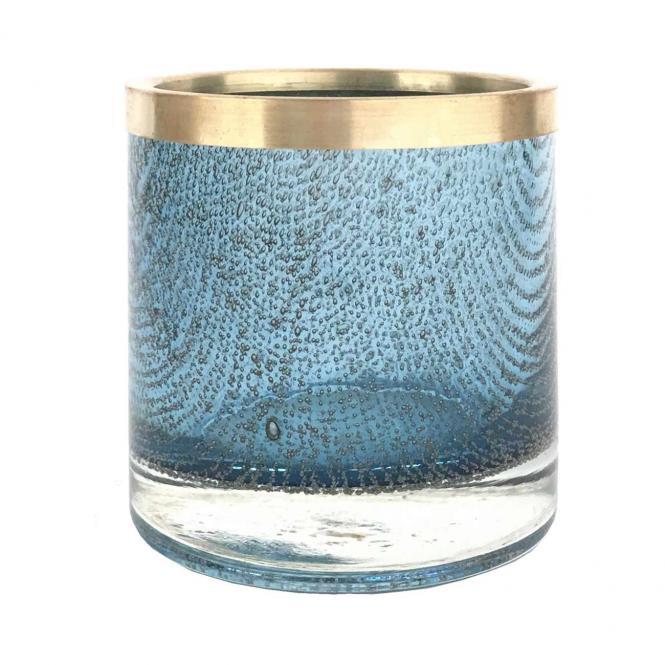 Flagon Windlicht Bubbles, M, blau