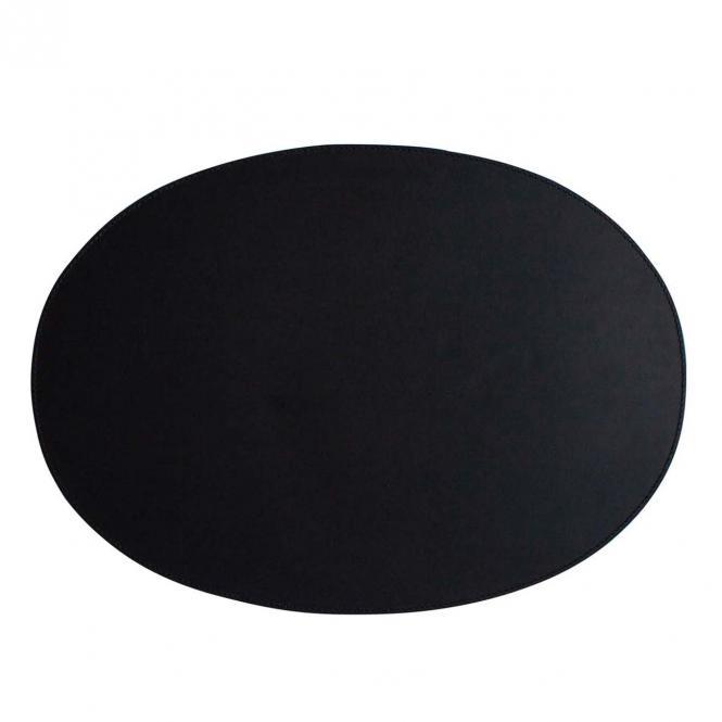 Leder Tischset, Lederunterlage KANON oval, schwarz (schwarze Naht)