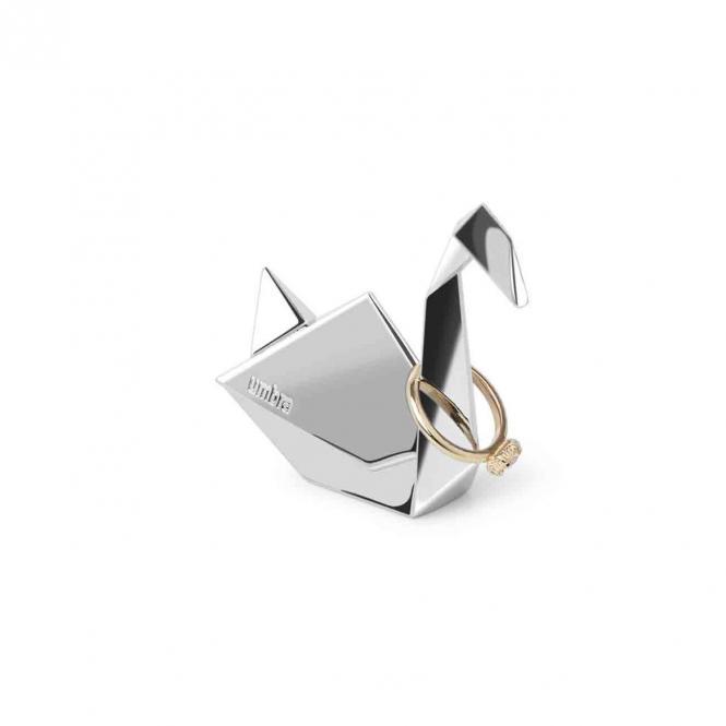 Ringständer Origami Schwan, silberfarben