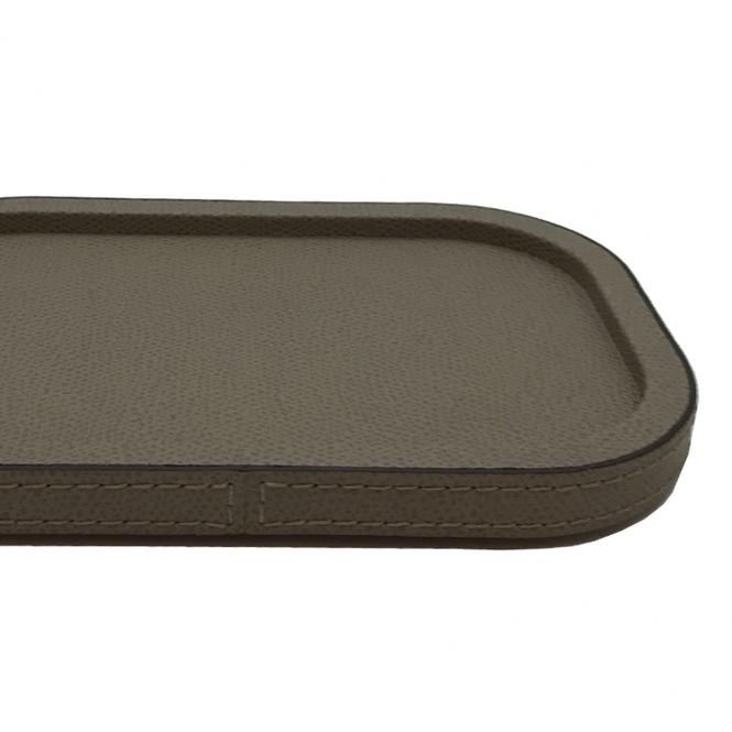 Stapelbare Ablagebox Polo small Leder rechteckig 23x17x5cm, taupe,