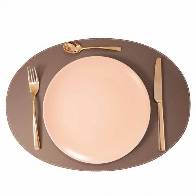 Leder Tischset, Lederunterlage KANON oval, taupe