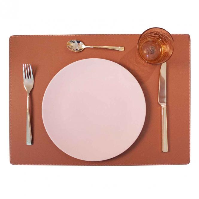 Leder Tischset, Lederunterlage KANON rechteckig, siena