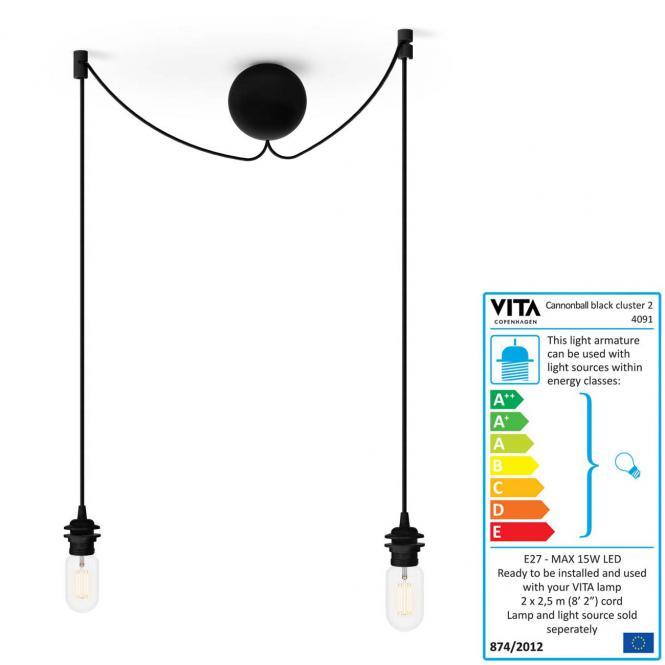 Aufhängung & Kabel Cannonball Cluster 2 für alle Vita-Lampen, schwarz,