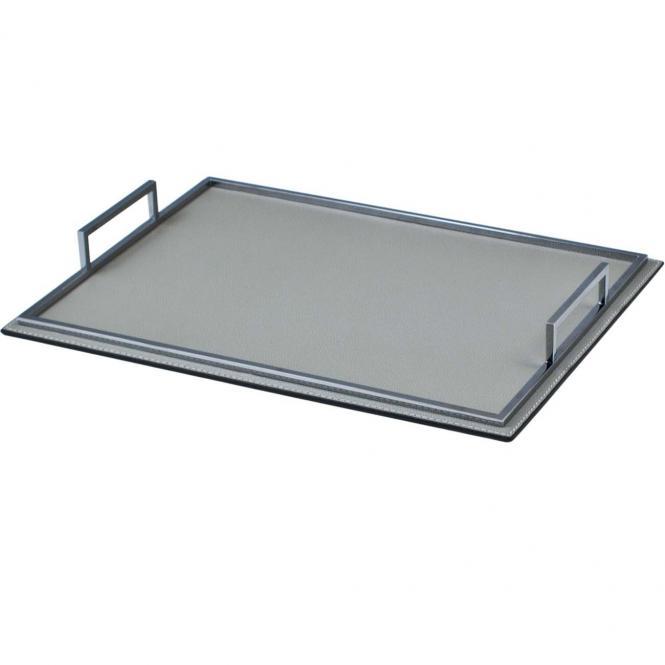 Ledertablett Defile rechteckig grau/chromfarben