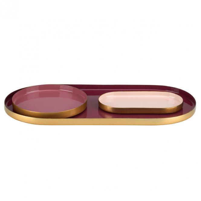Layer Tablett 3er Set oval/rund, burgundy/dusty rose/dahlia red