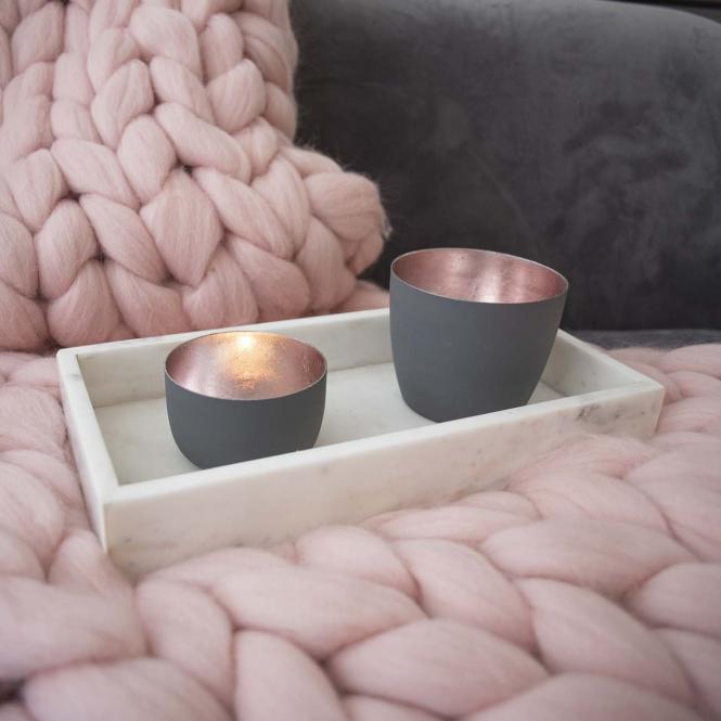 Teelichthalter Madras S flannel matt/rosegold