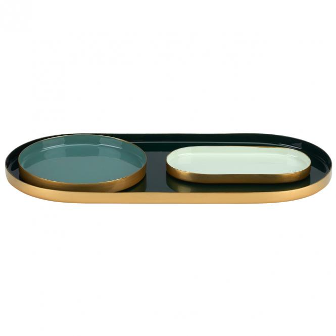Gift Company - Layer Tablett 3er Set, dark olive/chinese jade/yucca