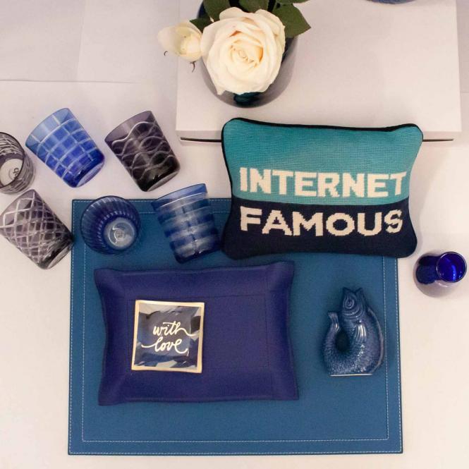 Schreibtischauflage, cobalt blau